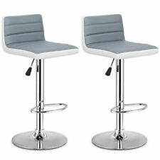 Moustache /® Moon Shape Swivel Height Adjustable White PU Leather Pub Bar Stool Chair Set of 2 with Back /& Footrest