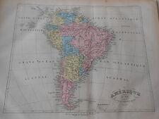 Carte Map couleur de l'Amérique du Sud 1877