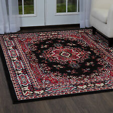 Traditional Medallion Black Persian 3 Pcs Area Rug Oriental Runner Mat Combo Set