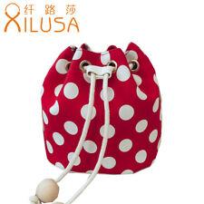 Xilusa Red Dot Mini Bucket Bag For Women Canvas Cute Ball Belt Shoulder Bags