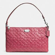 New COACH 52643 Signature Pebbled Leather SUNSET RED Mauve Pink Large Wristlet
