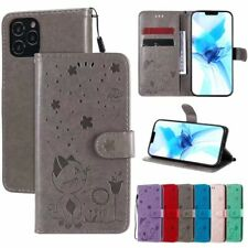 Embossing Cat Wallet Flip Antislip Classic Leather Phone Case Cover For Samsung