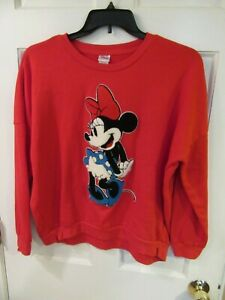 Disney Minnie Mouse Pullover Sweatshirt Needle Punch Size XXL Red