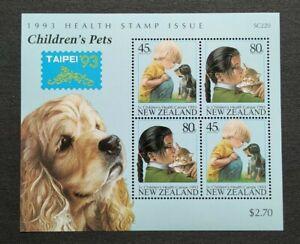 1993 New Zealand Health Children's Pets Taipei Stamp Exhibition Overprint MS MNH