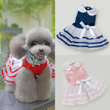 Pet Dog Mesh Clothes Classic Stripes Skirt Bow Princess Dress Breathable Lapel