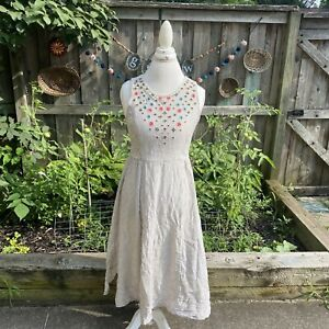 Fat Face pinstriped floral embroidered fit and Flare midi dress size 10 US