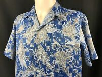 Tori Richard Hawaiian Shirt Button Front Floral Blue Med Polyester Vintage