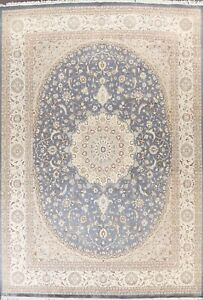 Gray Traditional Floral Medallion Oriental Area Rug Handmade Wool 9x12 Carpet