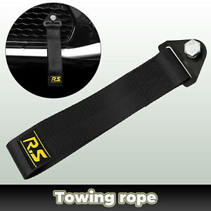 High Strength Racing Sport Tow Strap Black Front Rear Car Bumper Towing Hook