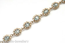 Solid 9ct Gold Blue Topaz Bracelet Hallmarked Gift Boxed Made in UK