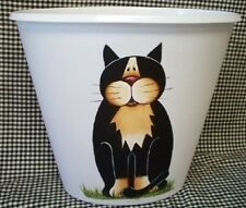 HAND PAINTED CAT WASTE PAPER BASKET/WHIMSICAL/SMALL