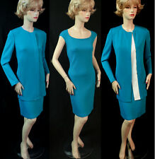 NWT ST JOHN PEACOCK BLUE KNIT DRESS SUIT SZ 6  FITTED  MILANO KNIT