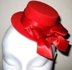 red mini top hat fascinator millinery burlesque wedding hen party fancy dress