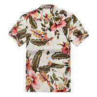 Men Hawaiian Shirt Cruise Tropical Luau Beach Aloha Hawaii Casual Cream Floral