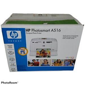 HP PhotoSmart A516 Compact Photo Printer Inkjet New Open Box Complete