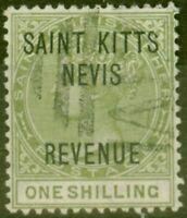 St Kitts & Nevis 1885 1s Olive SGR6 Fine Used