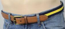 Polo Ralph Lauren Leather Navy Blue Gold Fabric Belt Brass Buckle NWT