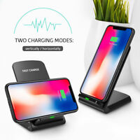 For Apple iPhone 8/x/11/xs/xr Qi Wireless Fast Charger Stand Dock Charging Pad