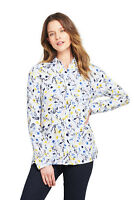Lands' End NWT Women's Brushed Rayon Collared Shirt White Floral MSRP $50