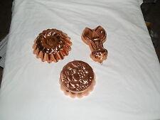 Benjamin & Medwin copper molds 2 marked 1 unmarked mold lobster, fruit design