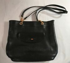 Authentic Bally Hand Bag Black Leather Gold Chain Straps