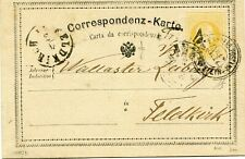 AUSTRIA 1874 p. stat. canc. FAR.POSTAMT ALA-KUFSTEIN N.17 + TRENTO to Feldkirk