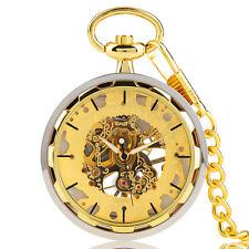 Vintage Transparent Skeleton Hand-Winding Mechanical Women Men Pocket Watch Gift