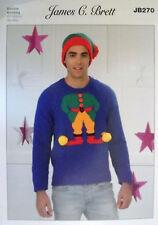 """James Brett Christmas DK knitting pattern Mens Elf Jumper + hat 38"""" - 48"""" JB 270"""