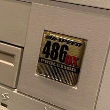 Custom Vintage 486 DX Gold Computer Case Badge DOMED Sticker Retro PC 486GD 1x1