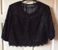 Next Signature, Black Daisy Lace Jacket, Satin Lined, Occasion, Size 12