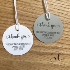 20 Personalised THANK YOU Gift Tags Wedding Favour Bomboniere Round Tag Circle