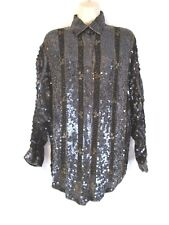 Mirror Room Women Silk Embellished Tunic Shirt Sz S Black Sequins Beaded DD438