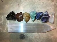 Large Chakra Stones Set: 7 Rough Crystals & (1) Selenite Point (CHARGED ROCKS)
