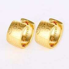 Women's Hoops Earrings 24k Yellow Gold Filled 14mm Charms Jewelry Gift