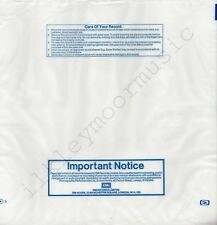 "Vintage INNER SLEEVE or SLEEVES 12"" EMI semi-opaque poly Important Notice x 1"