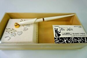 Special Occasion Decorative Guest Pen His Hers Wedding Day White Beige New Box