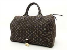 Louis Vuitton Authentic Monogram MINI Lin Ebene Speedy 30 Hand Bag Purse Auth LV
