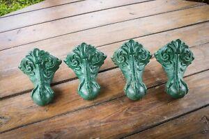 Antique - Cast Iron Bath Feet Leg - Set of 4 - Green