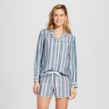 Gilligan & O'Malley Pajama Set 2 Piece Long Sleeve Top Shorts Striped X-Small XS