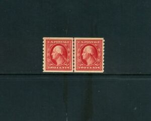 SCOTT#393, 2c CARMINE GUIDE LINE PAIR. VF/XF & NH.