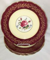 "4 England ROYAL SWANSEA ROSE* MAGENTA & GOLD* 10 1/4"" DINNER PLATES*"