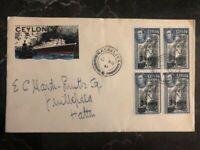 1941 Maskeliya Ceylon Cover Colombo Harbour Cachet Overprinted Stamps