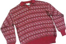 Vintage United Colors of Benetton Fair Isle Wool Pullover Sweater Red Italy Mens
