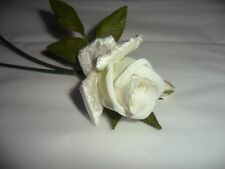 Vintage White Fabric Rose on Stem Made in Japan