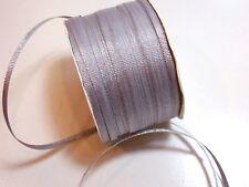Metallic Silver Grosgrain Ribbon 1/8 inch wide x 10 yards, Silver Ribbon