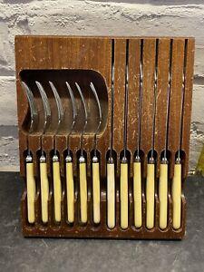 1950s Cutlery Sheffield Steel In Wooden Block Tray