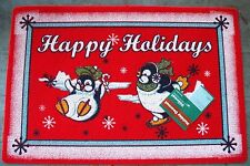 """RED SKATING PENGUIN HAPPY HOLIDAY SNOWMAN WELCOME MAT / ACCENT RUG ~ 18"""" x 27"""""""