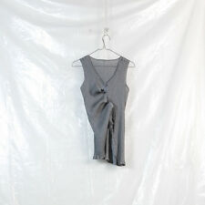 ME ISSEY MIYAKE gray pleated polyester adjustable sleeveless top blouse tank S