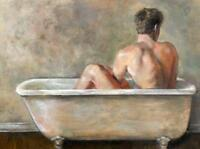 CHOP810 hand painted nude naked man bath in bathtub oil painting art canvas