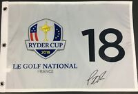 PATRICK REED SIGNED 2018 RYDER CUP GOLF FLAG FRANCE USA TEAM MASTERS US PGA COA